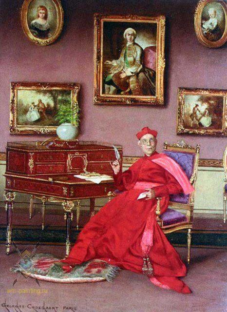 портрет в интерьере - Письмо :: Жорж Кроегаэр - Барокко, Ампир, Возрождение, Роккоко ( дизайн интерьера) фото
