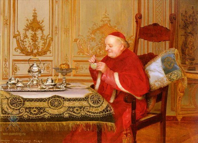 Перерыв на чай (портрет священника в интерьере) :: Жорж Кроегаэр - Барокко, Ампир, Возрождение, Роккоко ( дизайн интерьера) фото