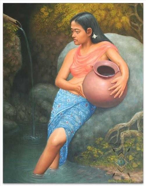 картина Момент впечатления (девушка с кувшином) :: Гобанг ( Бали) - Современная живопись Индонезии фото