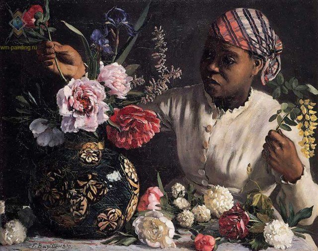 Чернокожая женщина составляет натюрморт :: Фредерик Басиль - Современный натюрморт художников мира фото