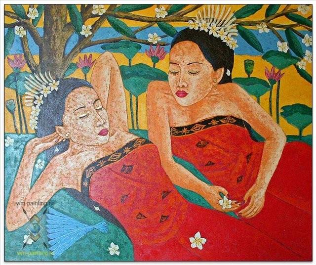 жанровая картина Спящие (отдыхающие) :: Гобанг ( Бали), описание картины - Современная живопись Индонезии фото