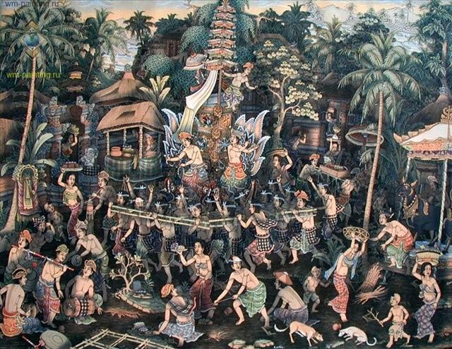 картина Церемония кремации :: Камин ( Индонезия) - Современная живопись Индонезии фото