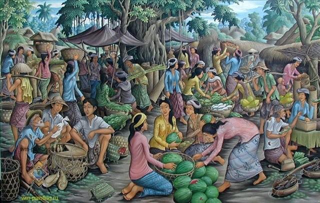 Жанровая картина Рынок :: Камин ( Бали) - Современная живопись Индонезии фото