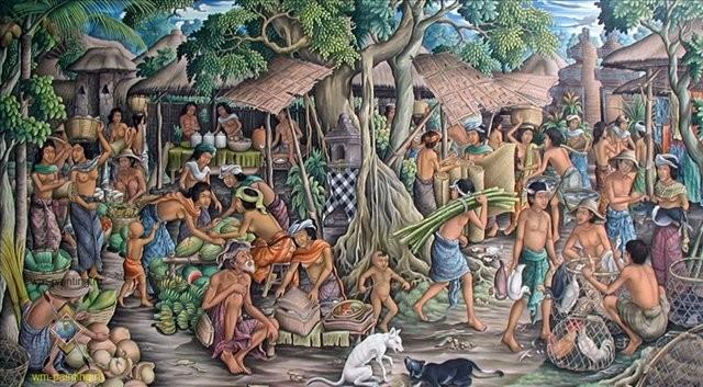 сельский жанровый пейзаж Традиционный рынок :: Камин - Современная живопись Индонезии фото