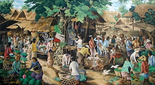 сельский пейзаж Традиционный рынок :: Камин - Современная живопись Индонезии фото