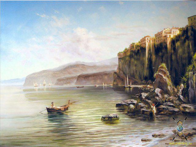 копия картины Селивестра Щедрина - Итальянский пейзаж Сорренто - копии - Морские пейзажи фото