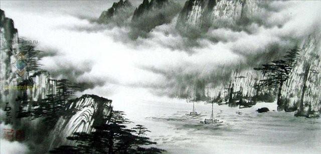 пейзаж Путешествие через горы III :: Ву Чанган ( Китай) - Китайская живопись, Гохуа фото
