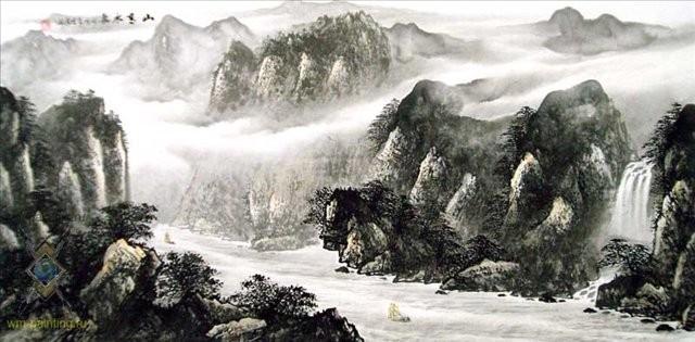 китайский пейзаж Путешествие через горы IV :: У Чань Янь (Ву Чанган) (Китай) - Китайская живопись, Гохуа фото