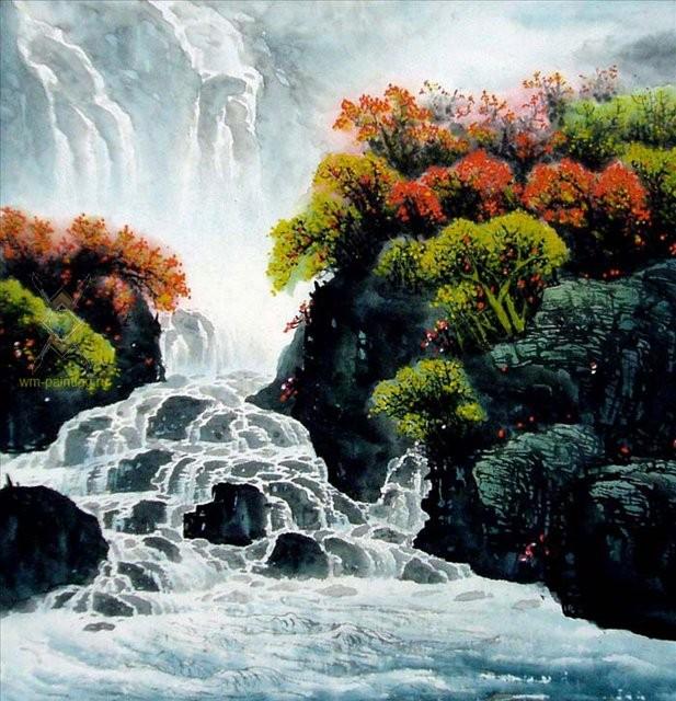 картина Река и горы :: У Чань Янь ( Ву Чанган) ( Китай ) [ горный и речной пейзаж ], китайская живопись - Китайская живопись, Гохуа фото