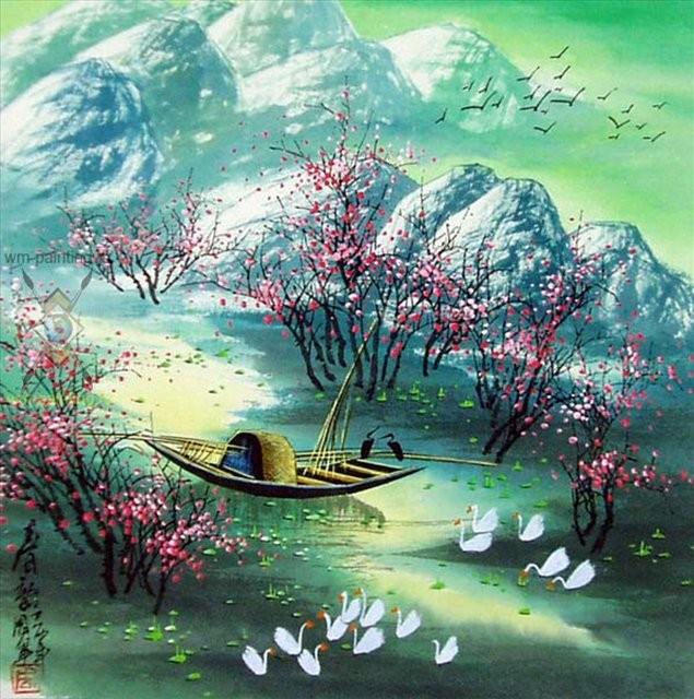 картина Весенний пейзаж :: Жоу Юн, китайская живопись - Китайская живопись, Гохуа фото
