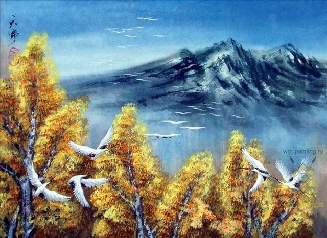 картина Осенний полёт журавлей :: Тиан Вы, китайская живопись - Китайская живопись, Гохуа фото