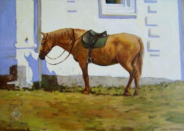 картина Лошадка :: Сергей Сорокин - Лошади ( иппический жанр - картины с лошадьми ) фото