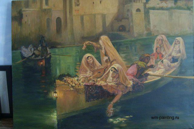 копия картины < Гарем в лодке > - Репродукции - копии маслом  шедевров живописи фото