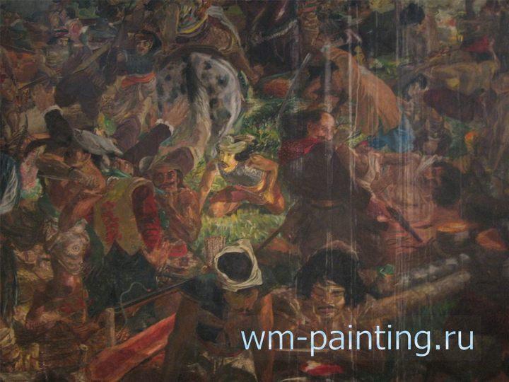 картина Битва между армией королевства Матарам и солдатами Ост-Индской компании в 1628 году. Художник С. Суджожоно. 1975 г.