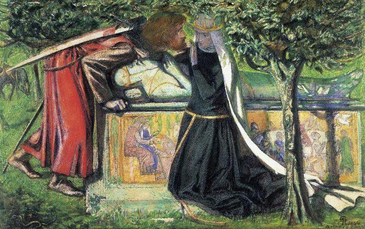 картина Могила Артура - последняя встреча Ланселота и Гвиневеры :: Данте Габриэль Россетти - Разное фото