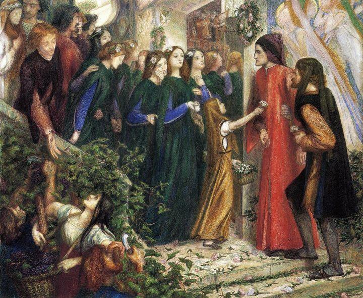 Беатриче встречает Данте на свадебном пиру Данте Габриэль Россетти - Разное фото