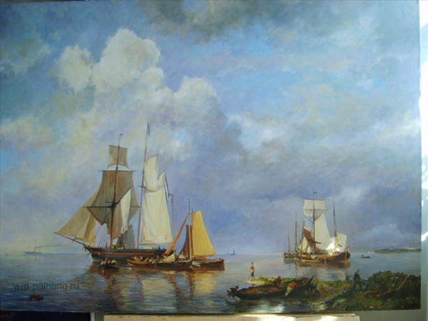 копия картины Парусники на якоре ( Коеккоек Йохан Германус ) - копии - Морские пейзажи фото