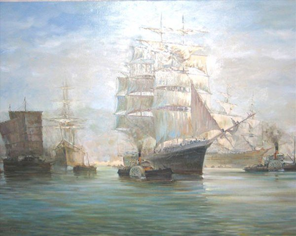 Копия картины Монтага Доусона - Китайский порт - копии - Морские пейзажи фото