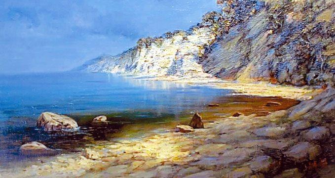 картина Бухта, штиль :: А. Милюков - Морские пейзажи (современная марининстика) фото