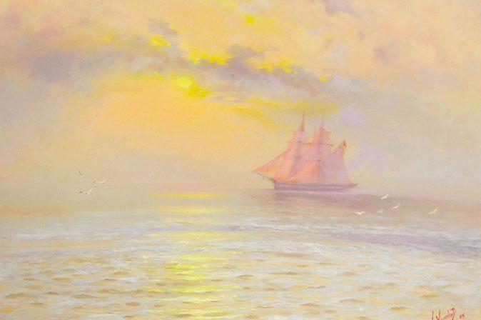 картина <Рассвет на море> :: А. Милюков - Морские пейзажи (современная марининстика) фото