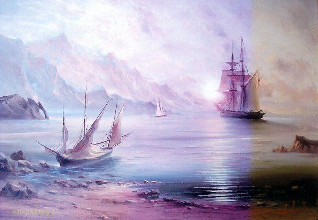 картина Ранний рассвет на море :: А. Милюков - Морские пейзажи (современная марининстика) фото