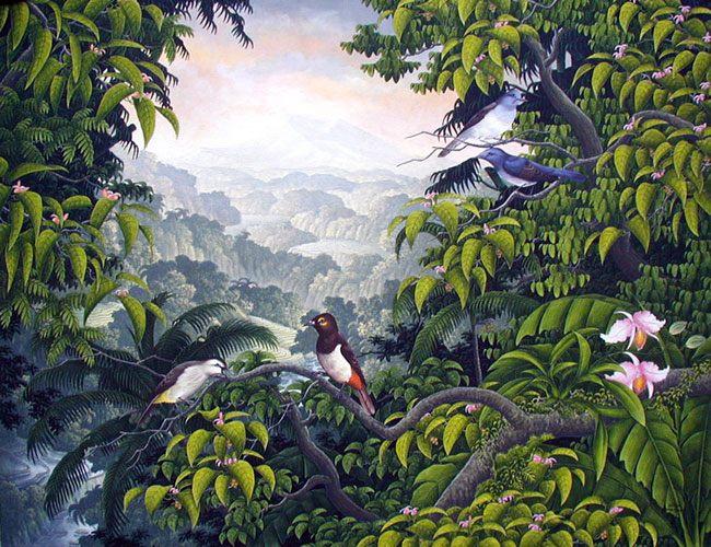 картина <Горы и птицы> :: Дирса ( Бали, Индонезия ) - Пейзажи ( пейзажная живопись ) фото