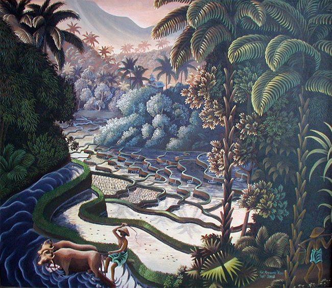 картина <посадка риса> :: Кене Яса  - Пейзажи ( пейзажная живопись ) фото