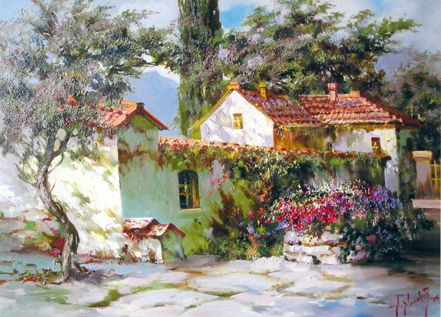 картина Дворик в Коктебеле :: А. Милюков - Пейзажи ( пейзажная живопись ) фото
