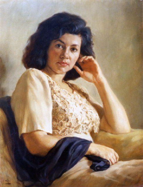 Портрет женщины с чёрным платком - Женский портрет фото