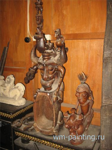 Изображение Синга на рукояти для ритуальной чаши для омовения в ходе лекарских шаманских практик