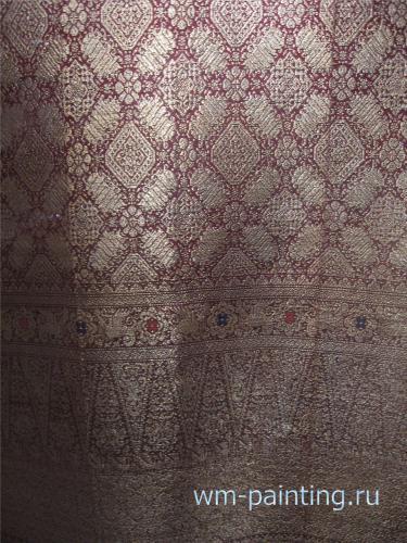 Шелковая шаль. Сонгкет. Шелковое ткачество с  дополнительной позолоченной нитью уткa. Малайзия. XX век.