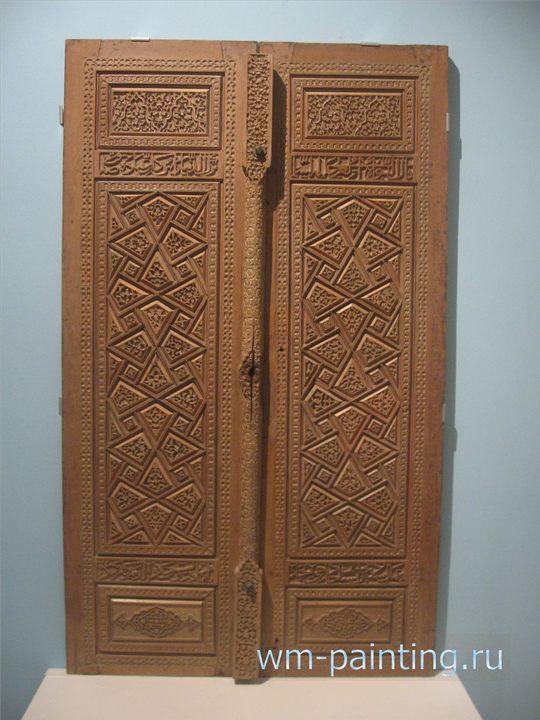 Входные двери. Иран. 1487 г. Резьба по дереву.