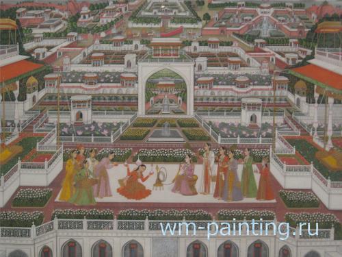 Фаизулла. Развлечения во дворце. Непрозрачная акварель. Фаизабад. Индия. 1765 – 1770 г.г.