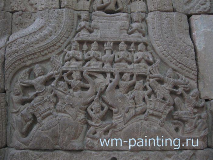 Сцена поражения демона зла Мары. Фронтон (северная терраса) Прасат Теп Пранам.  Сием-Риеп. Ангкорский период.  Стиль Байон. Позд