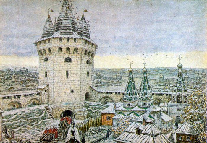 Семиверхая угловая башня Белого города Москвы в 17 веке, Беспалова Л. А. Аполлинарий Михайлович Васнецов, 1856 - 1933. - Разное фото