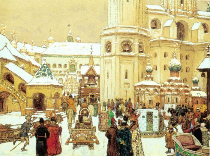 Площадь Ивана Великого в Кремле. 17 век, картина Аполлинария Васнецова  - Разное фото