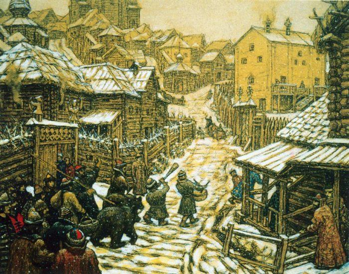 Медведчики (развлечение). Старая Москва, Аполлинарий Васнецов, картина - Разное фото