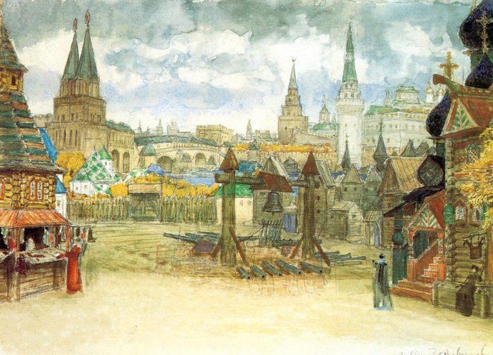 Стрелецкая слобода, Аполлинарий Васнецов, картина с описанием - Разное фото