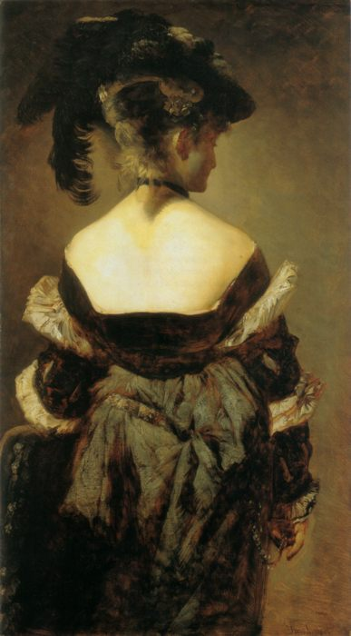 картина Дама в меховой шляпе с перьями (женский портрет) :: Ганс Макарт - Разное фото