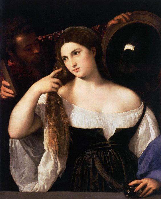 портрет Женщина с зеркалом, Тициан