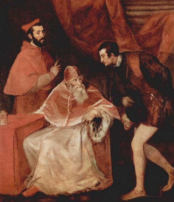 Tициан Вечеллио. «Портрет папы Павла III с кардиналом Алессандро Фарнезе и герцогом Оттавио Фарнезе»