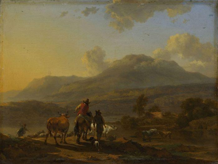 Подпись к картине: Николас Берхем, Итальянский пейзаж на закате