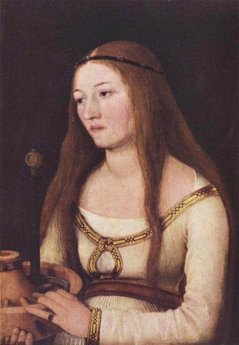 Ганс Хольбейн Старший, Портрет Катарины Шварц с атрибутами её святой покровительницы 1509, 39×28 см Гота, Музей замка Фриденштей