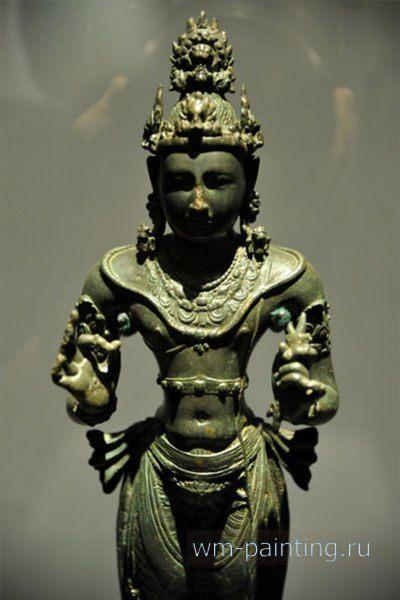 Бодхисаттва Ваджрапани. Курунегара. IX век. Бронза - Коломбо. Национальный Музей, Шри-Ланка.