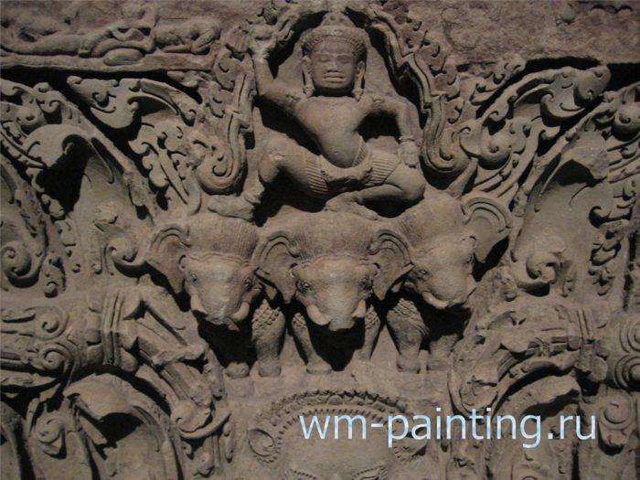 Индра на слоне Аиравата. Песчаник. ХI век.