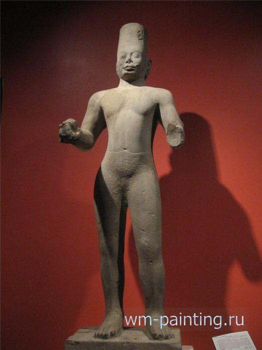 Вишну. Прей Кхменг. Песчаник. Начало VIII века - Ангкор. Национальный Музей