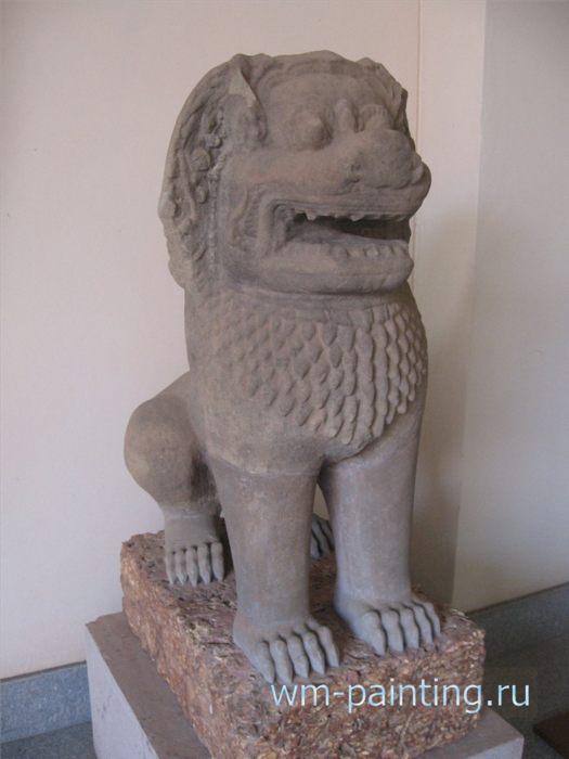 Лев. Храм Бантей Прей. X век. Стиль Кох Кер. Песчаник - Ангкор. Национальный Музей