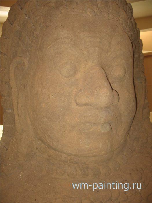 Демон Асура. Фрагмент. Крупный план - Ангкор. Национальный Музей