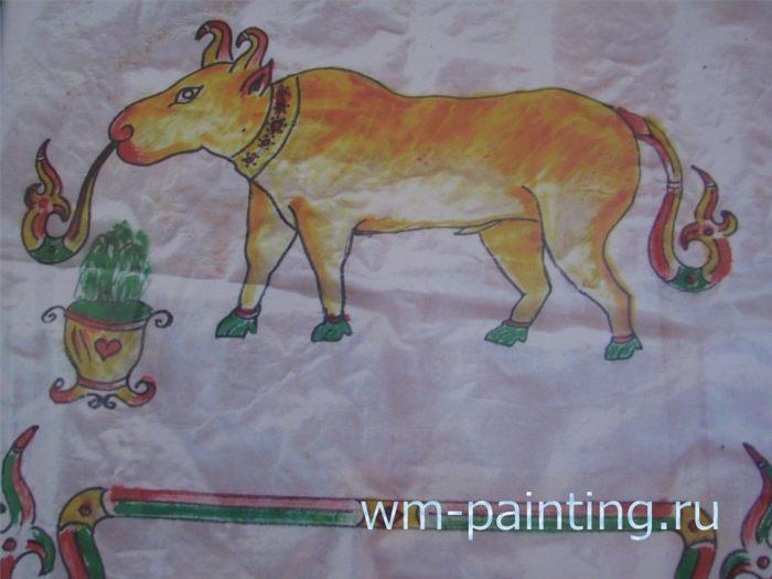 Изображение быка на рисунке народности Чам Баламон.