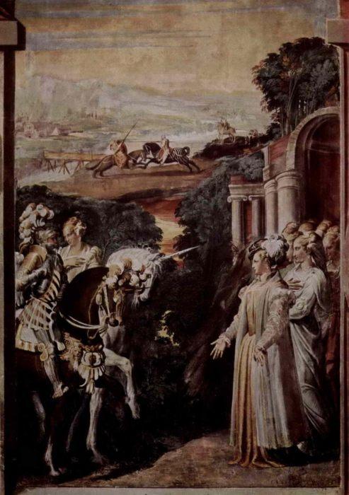 картина Алкина встречает Руджеро - Никколо дель Аббате (1510-1571) - итальянская живопись 16 века - Разное фото